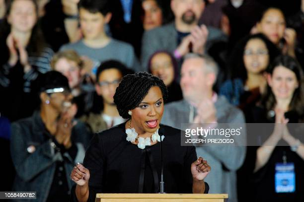 Congresswomen Ayanna Pressley addresses the audience during the Election Day Massachusetts Democratic Coordinated Campaign Election Night Celebration...