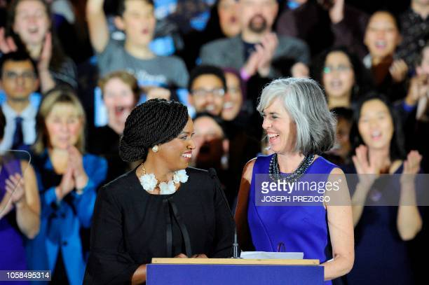 Congresswomen Ayanna Pressley and Katherine Clark introduce Senator Elizabeth Warren at the audience during the Election Day Massachusetts Democratic...