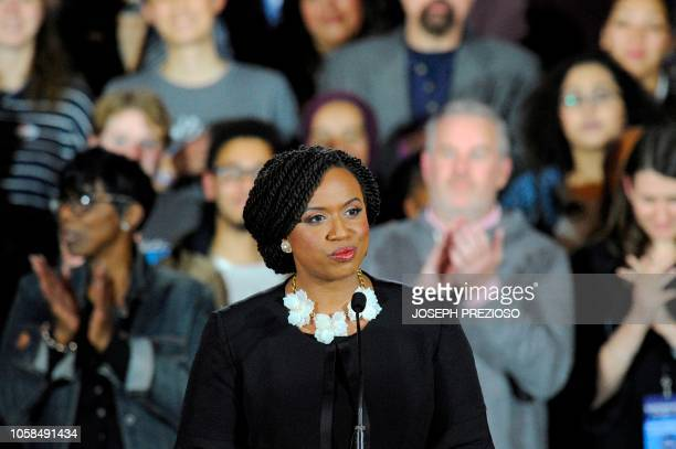 Congresswomen Ayanna Pressley makes her way to the stage during the Election Day Massachusetts Democratic Coordinated Campaign Election Night...