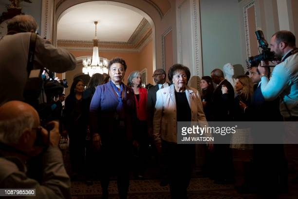 US Congresswomen Barbara Lee DCA and Chairwoman of the House Appropriations Committee Nita Lowey DNY arrive to observe the Senate's failed votes to...