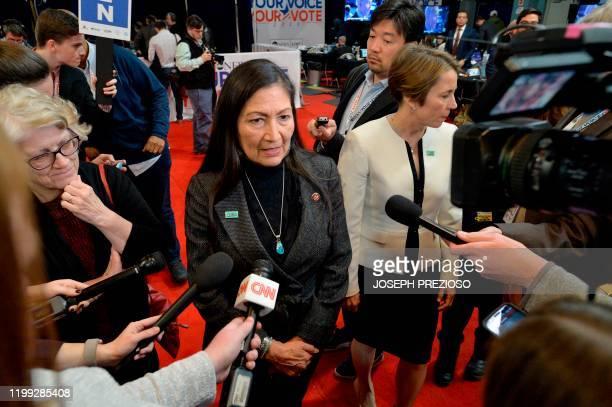 Congresswomen Deb Haaland speaks to the media as an endorser of Senator Elizabeth Warren in spin room after the eighth Democratic primary debate of...