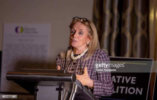 """Congresswomen Debbie DIngell speaks at The Creative Coalition's """"Right To Bear Arts"""" Gala Fundraiser on April 27, 2018 in Washington City."""