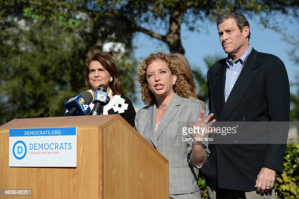 Congresswomen Debbie Wasserman Schultz holds a press conference in anticipation of New Jersey Governor Chris Christie's visit to south florida for...