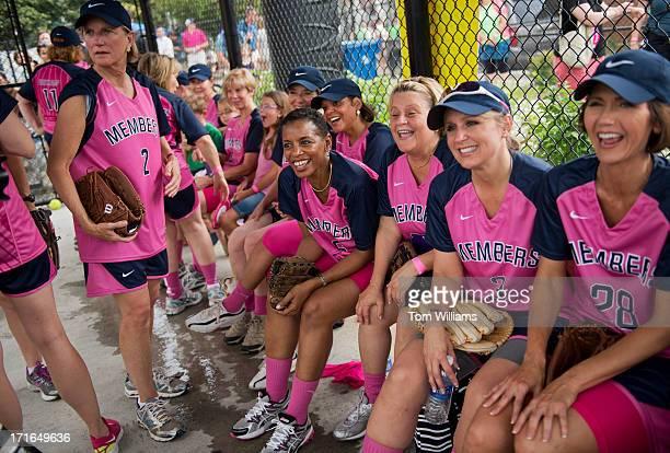 Congresswomen including Donna Edwards DMd center hangout before the Congressional Women's Softball game that pits Congresswomen against female...