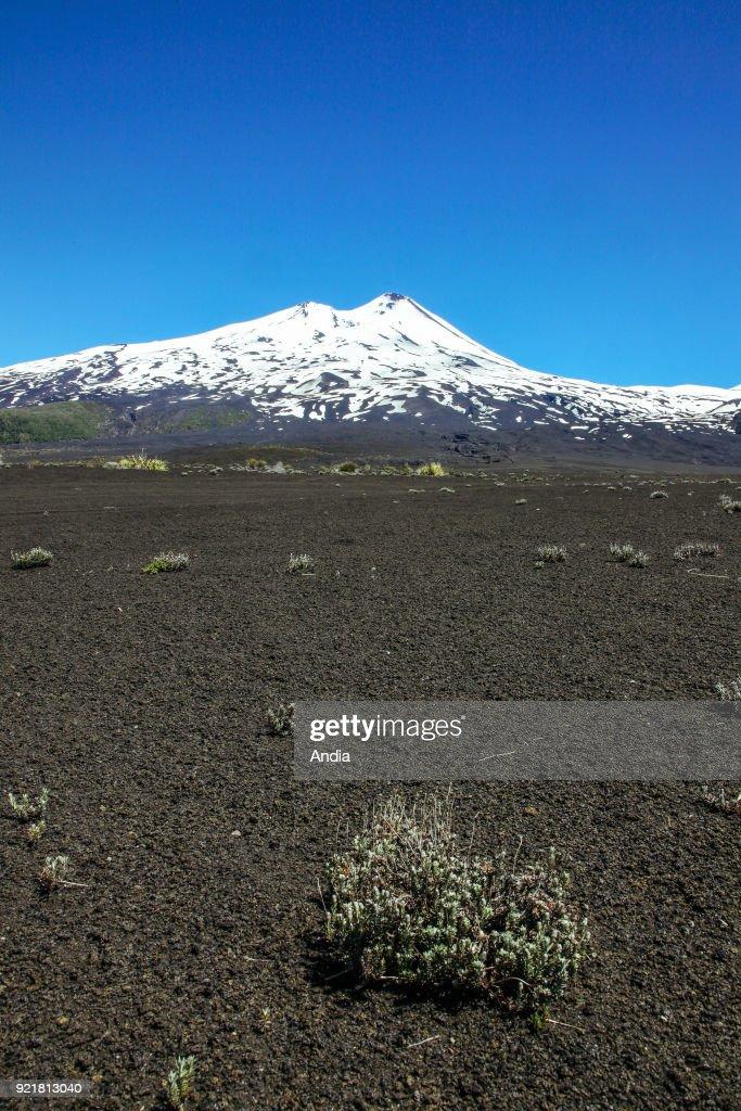 the Llaima Volcano behind an arid area.
