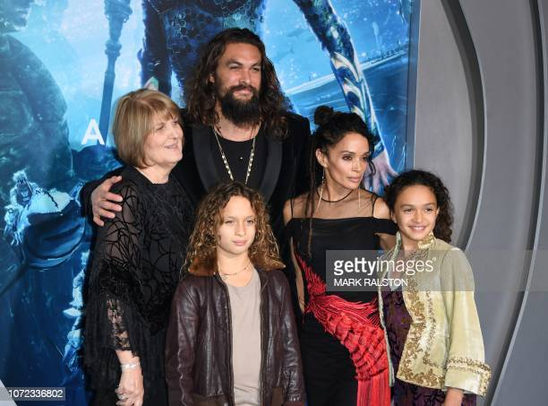 Coni Momoa US actor Jason Momoa his son NakoaWolf Manakauapo Namakaeha Momoa his wife actress Lisa Bonet and daughter Lola Iolani Momoa arrive for...