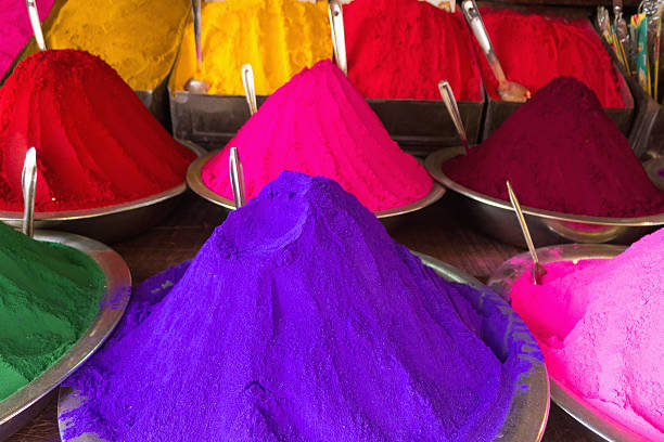 Conical Piles Of Kumkum (Coloured Powder Used For Bindi Dots And Pujas) At Devaraja Market