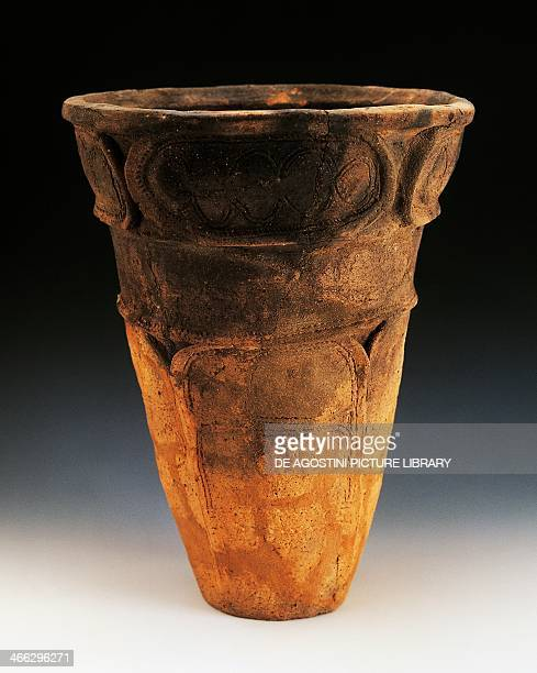 Conical terracotta Fukabachi cup with flat base decorated with applied strips of clay and sketched lines height 31 cm Japanese civilisation early...