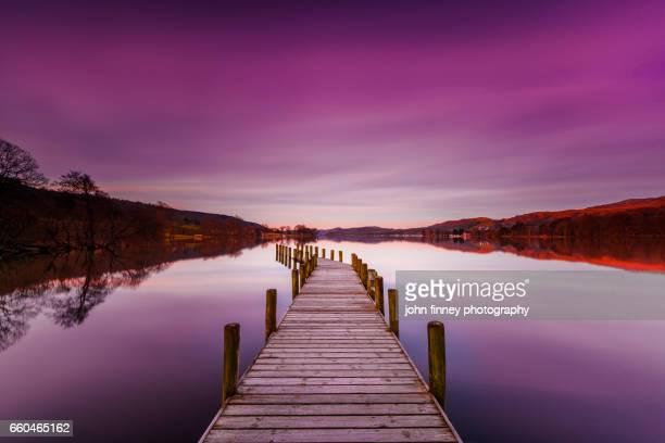 Coniston water sunrise. Lake District National park. UK.