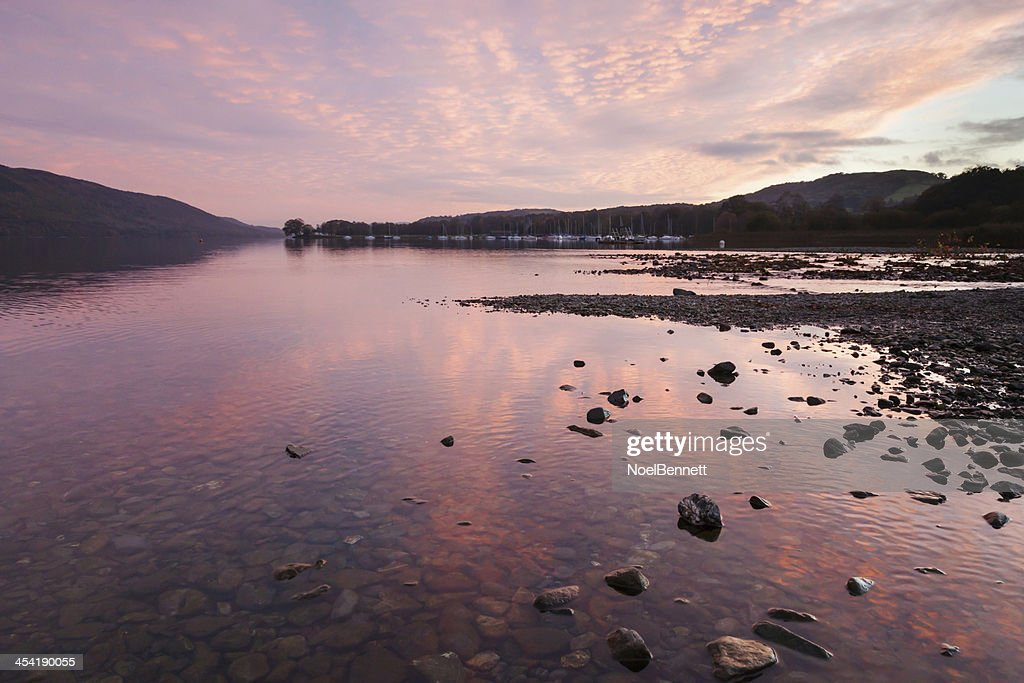 Coniston Water Sonnenuntergang : Stock-Foto