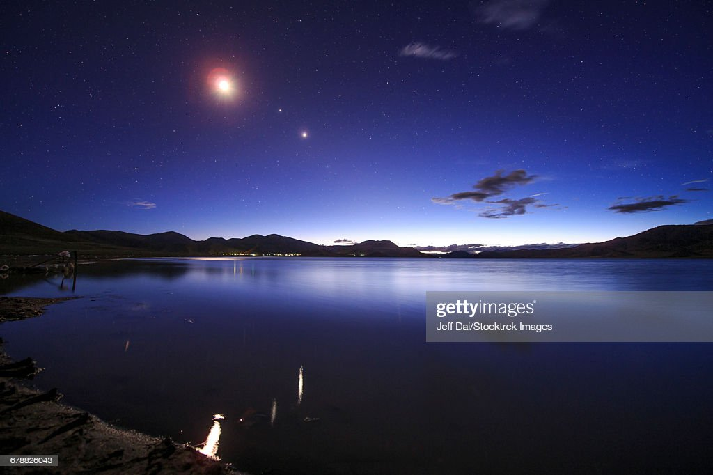 Conjunction Of The Moon Jupiter And Venus Above Yamdrok Lake