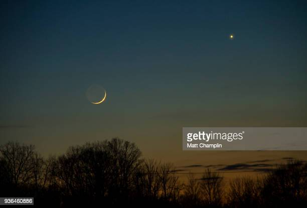 conjunction of the moon, venus, and mercury - venus planet stock pictures, royalty-free photos & images