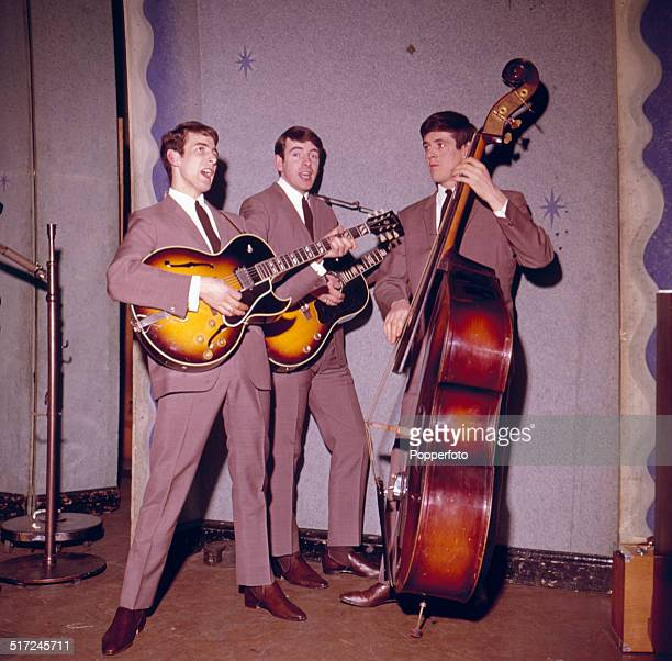 Conleth Cluskey, Declan Cluskey and John Stokes of Irish vocal group The Bachelors pictured in performance in 1964.