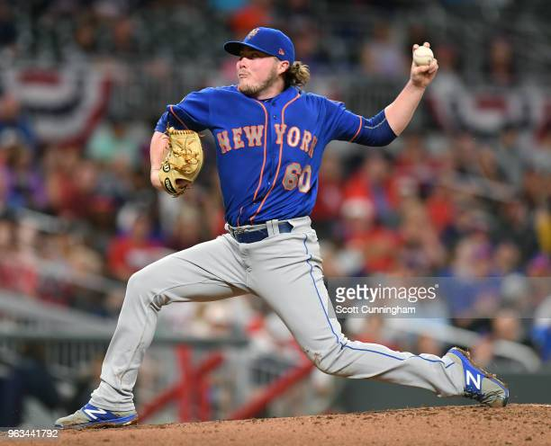 P J Conlon of the New York Mets pitches in the secodn inning against the Atlanta Braves at SunTrust Field on May 28 2018 in Atlanta Georgia