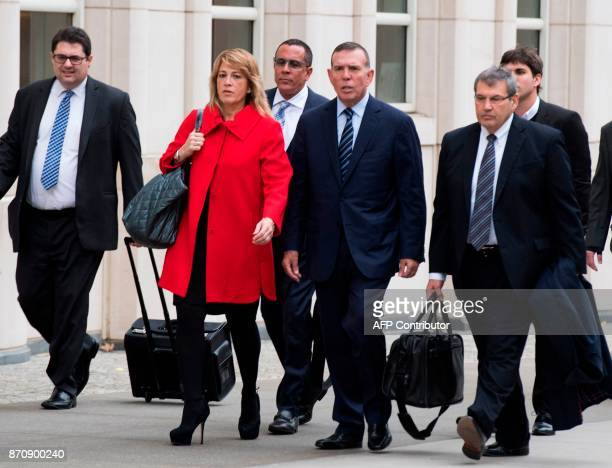 Conmebol President Juan Angel Napout of Paraguay arrives at Brooklyn Federal Court November 6 2017 in New York The bribery trial of three South...