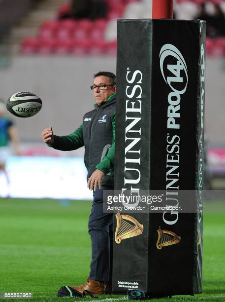 Connacht's Head Coach Kieran Keane during the pre match warm up during the Guinness Pro14 Round 5 match between Scarlets and Connacht Rugby at Parc y...