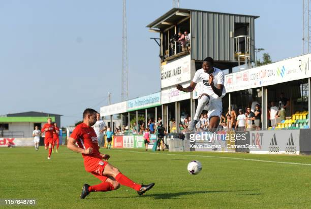 Connah's Quay Nomads' George Horan clears under pressure from Partizan Belgrade's Umar Sadiq during the Europa League 2nd Qualifying Round 1st Leg...