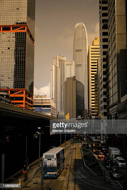 connaught road central with international finance centre buildings in the background. - merten snijders stockfoto's en -beelden