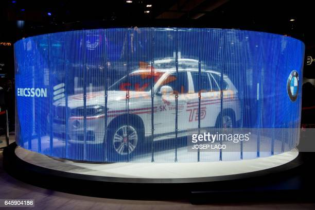 Connected car produced by Ericsson SK telecom and BMW companies it's shown at the Mobile World Congress on the first day of the MWC in Barcelona on...