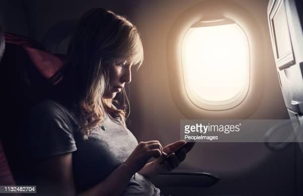 空中でも接続 - 乗り物に乗って ストックフォトと画像