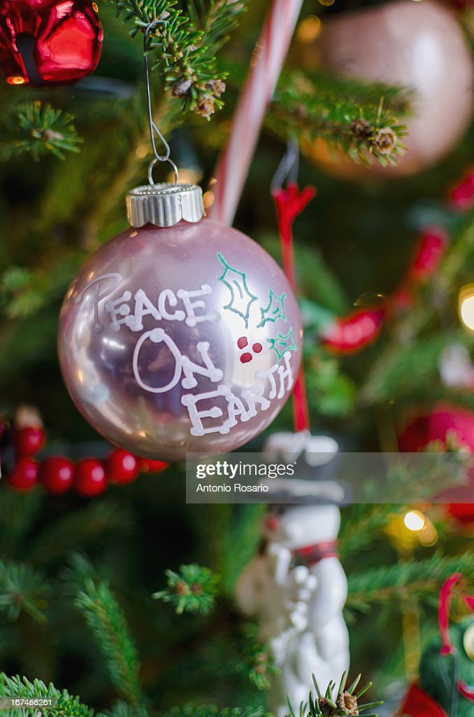 USA, Connecticut, Close up of Christmas tree with decorations : Stock Photo