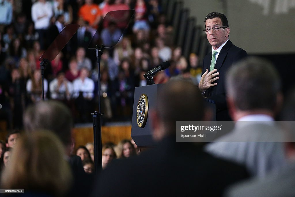 Connecticut Gov. Dannel Malloy speaks before U.S. President Barack Obama delivered a speech on gun control at the University of Hartford on April 8, 2013 in West Hartford, Connecticut. Nearly four months after the Sandy Hook Elementary School shootings, Connecticut has passed some of the toughest gun control measures in the nation.