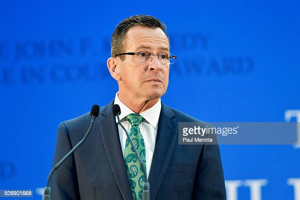Connecticut Governor Dannel Malloy receives the 2016 John F Kennedy Profile in Courage Award at The John F Kennedy Presidential Library And Museum on...