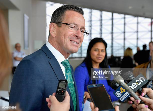 Connecticut Governor Dannel Malloy speaks with reporters after receiving the 2016 John F Kennedy Profile in Courage Award at The John F Kennedy...