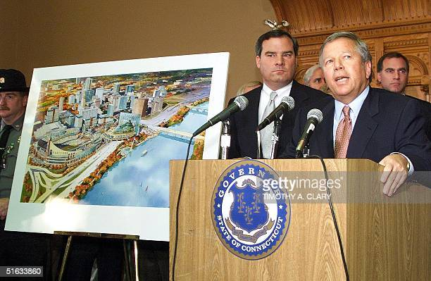 Connecticut Governor John Rowland and New England Patriots owner Robert Kraft hold a press conference 19 November at the State Capitol to announce...