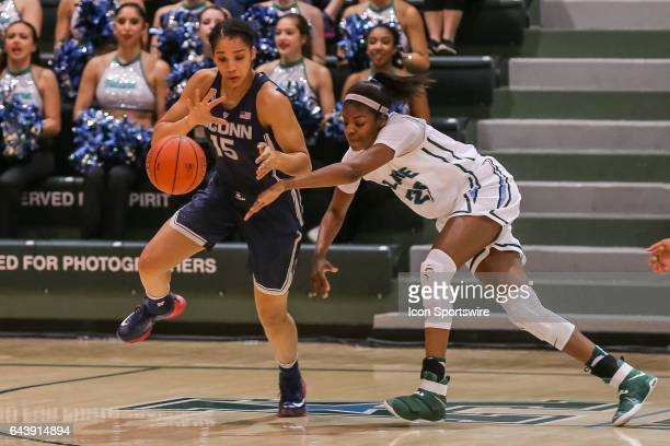 Connecticut guard Gabby Williams steals the ball against Tulane during the game between Connecticut and Tulane on February 18 2017 at Devlin...