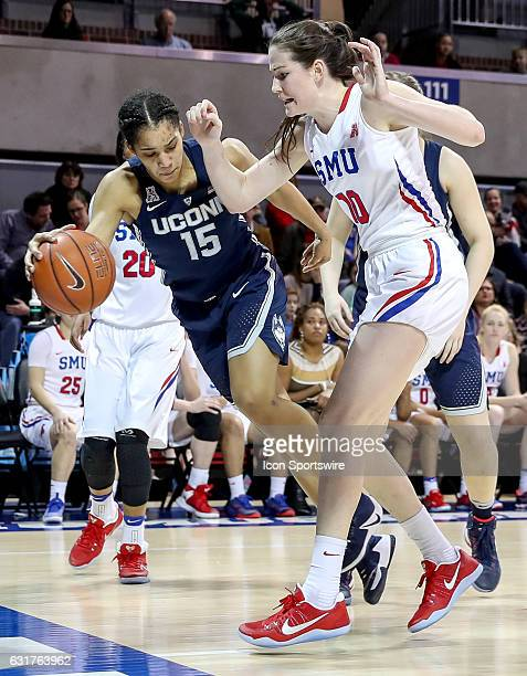 Connecticut guard Gabby Williams tries to throw the ball off of SMU forward Alicia Froling during the NCAA women's basketball game between the...