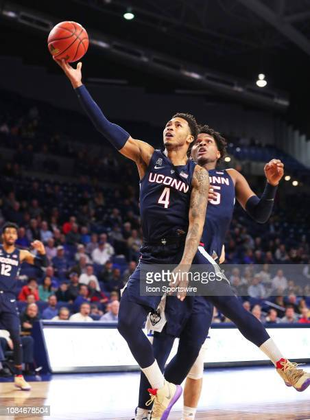 Connecticut Guard Jalen Adams during a college basketball game between the Tulsa Golden Hurricane and the UCONN Huskies on January 16 at the Reynolds...