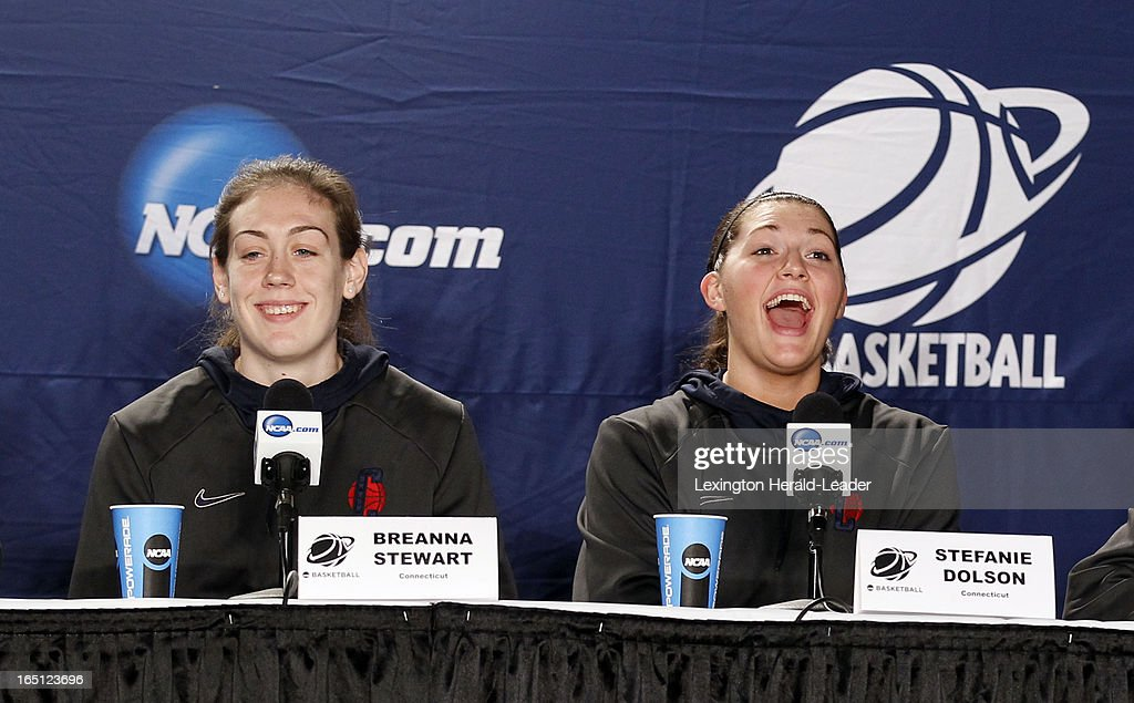 Connecticut Huskies Breanna Stewart, left, and Stefanie Dolson laugh during a press conference at Webster Bank Arena in Bridgeport Connecticut, Sunday, March 31, 2013. The Huskies will face the University of Kentucky on Monday night in the regional finals.