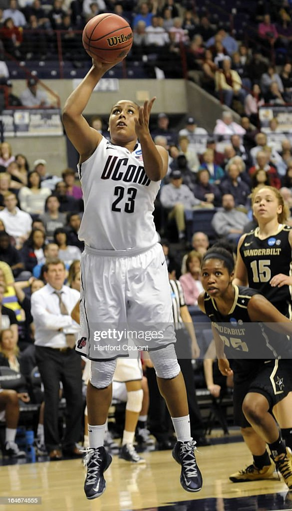 Connecticut Huskies forward Kaleena Mosqueda-Lewis (23) shoots for two of her game-high 22 points against the Vanderbilt Commodores during the women's NCAA Tournament at Gampel Pavilion in Storrs, Connecticut, Monday, March 25, 2013.