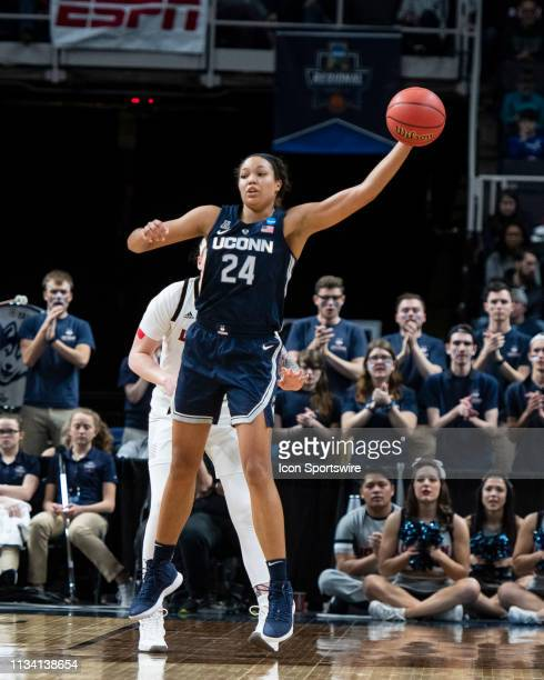 Connecticut Huskies Forward Napheesa Collier receives a high pass during the second half of the game between the Connecticut Huskies and the...