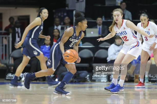 Connecticut Huskies guard Crystal Dangerfield looks to pass the ball during the game between SMU and UConn on February 24 at Moody Coliseum in Dallas...