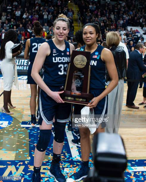 Connecticut Huskies Guard / Forward Katie Lou Samuelson and Connecticut Huskies Forward Napheesa Collier pose with the Albany Region Trophy during...