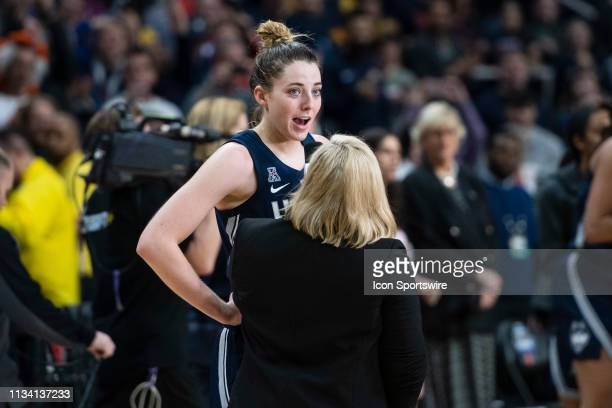 Connecticut Huskies Guard / Forward Katie Lou Samuelson is interviewed by ESPN's Holly Roe after the end of the second half of the game between the...