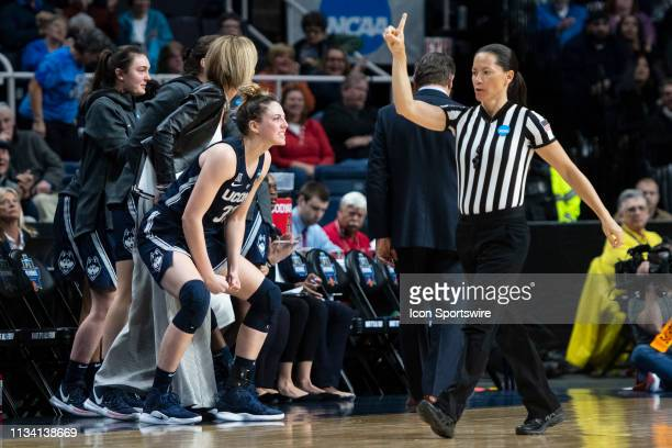 Connecticut Huskies Guard / Forward Katie Lou Samuelson reacts from the bench during the second half of the game between the Connecticut Huskies and...