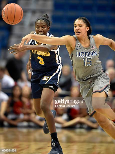 Connecticut Huskies guard Gabby Williams gets the steal on Chattanooga Lady Mocs forward Jasmine Joyner during the first half on Tuesday Nov 29 2016...