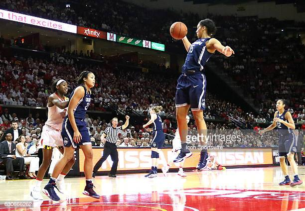 Connecticut Huskies guard Gabby Williams hauls in a rebound during a NCAA women's basketball game on December 29 at Xfinity Center in College Park MD...