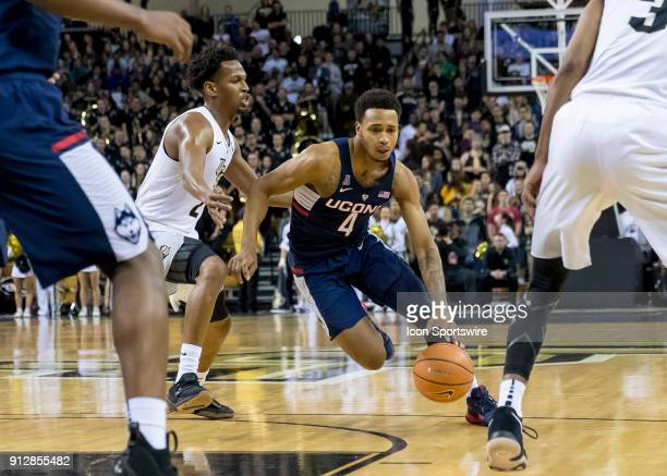 Connecticut Huskies guard Jalen Adams drives the lane during the UCF Knights and the Connecticut Huskies on January 31st 2018 at CFE Arena in Orlando...
