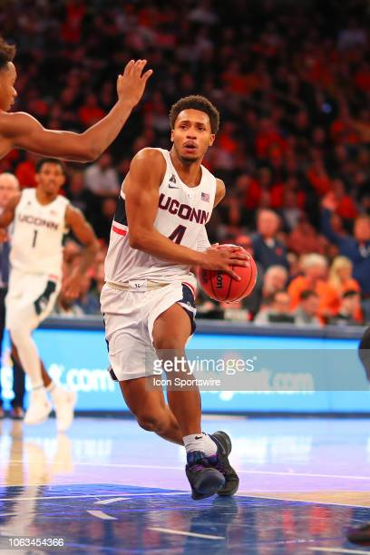 Connecticut Huskies guard Jalen Adams during the College Basketball game between the Syracuse Orange and the Connecticut Huskies on November 15 2018...