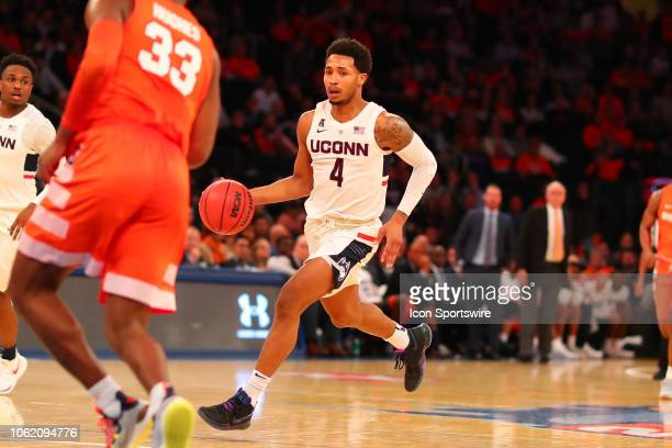 Connecticut Huskies guard Jalen Adams during the second half of the College Basketball game between the Syracuse Orange and the Connecticut Huskies...