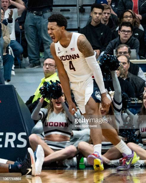Connecticut Huskies guard Jalen Adams reacts to a play on the court during the first half of the Arizona Wildcats versus the Connecticut Huskies game...