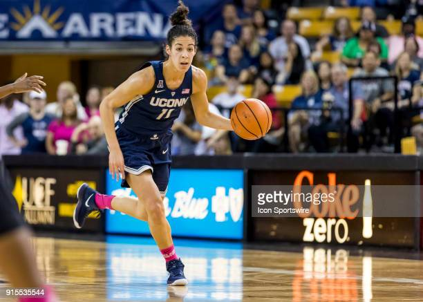 Connecticut Huskies guard Kia Nurse brings the ball up court during the UCF Knights and the Connecticut Huskies basketball game on February 07 2018...