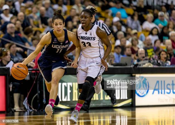 Connecticut Huskies guard Kia Nurse drives to the basket during the UCF Knights and the Connecticut Huskies basketball game on February 7 2018 at CFE...