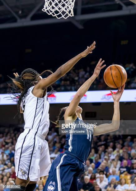 Connecticut Huskies guard Kia Nurse shoots a layup during the UCF Knights and the Connecticut Huskies basketball game on February 07 2018 at CFE...