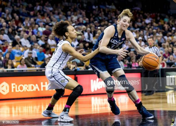 Connecticut Huskies guard/forward Katie Lou Samuelson drives to the basketduring the UCF Knights and the Connecticut Huskies basketball game on...