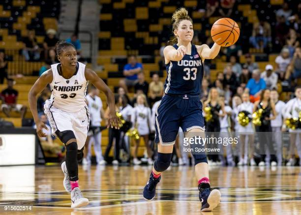 Connecticut Huskies guard/forward Katie Lou Samuelson passes the ball during the UCF Knights and the Connecticut Huskies basketball game on February...